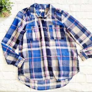 Lucky Brand blue plaid sheer button front top L